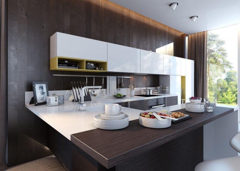 Бело-коричневая кухня в стиле хай-тек
