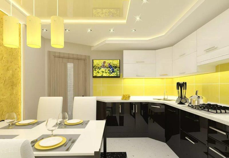 Желтый фартук в кухне модерн с черным низом