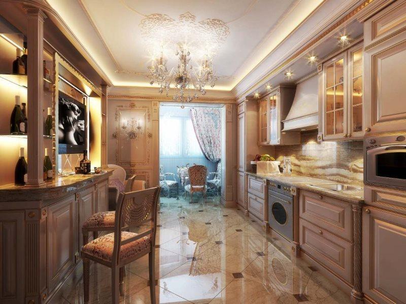 Крашенные фасады кухни в классическом стиле