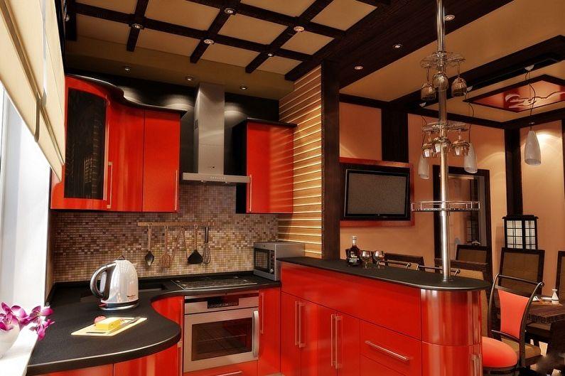 Интерьер восточной кухни в красном цвете