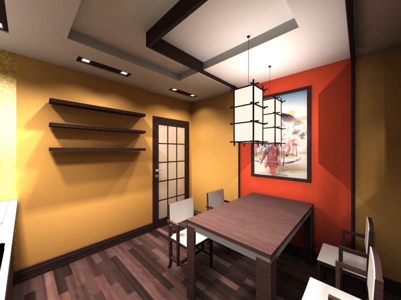 Красная стена в роли акцента в кухне японского стиля