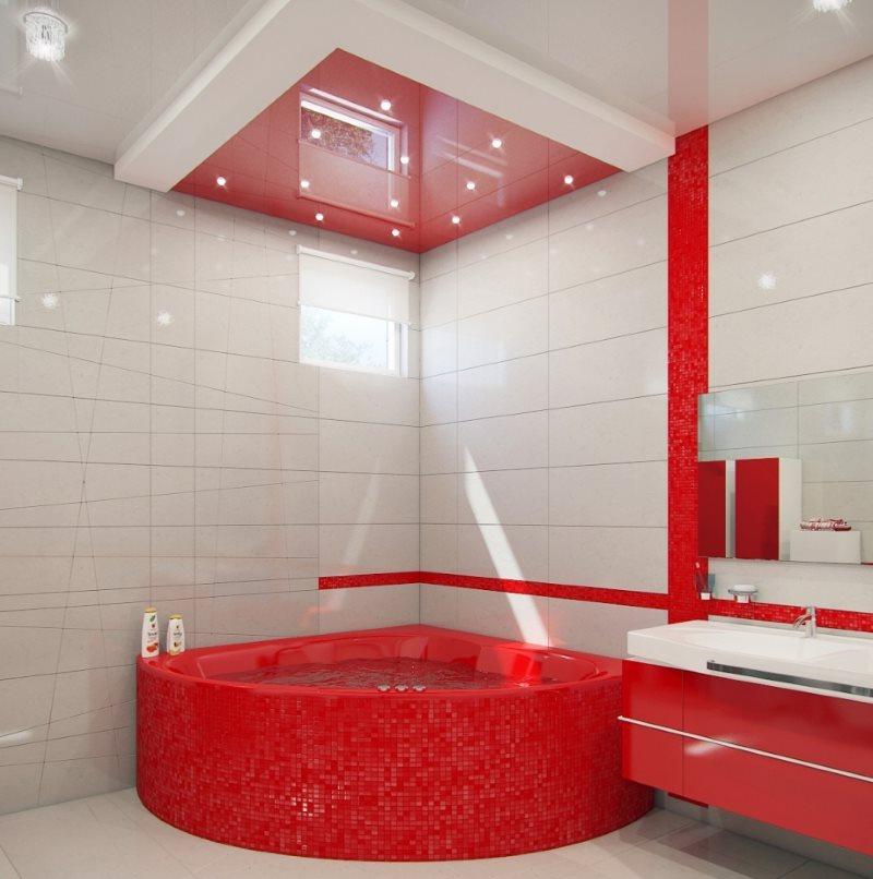 Красная ванна из акрила в современной ванной комнате