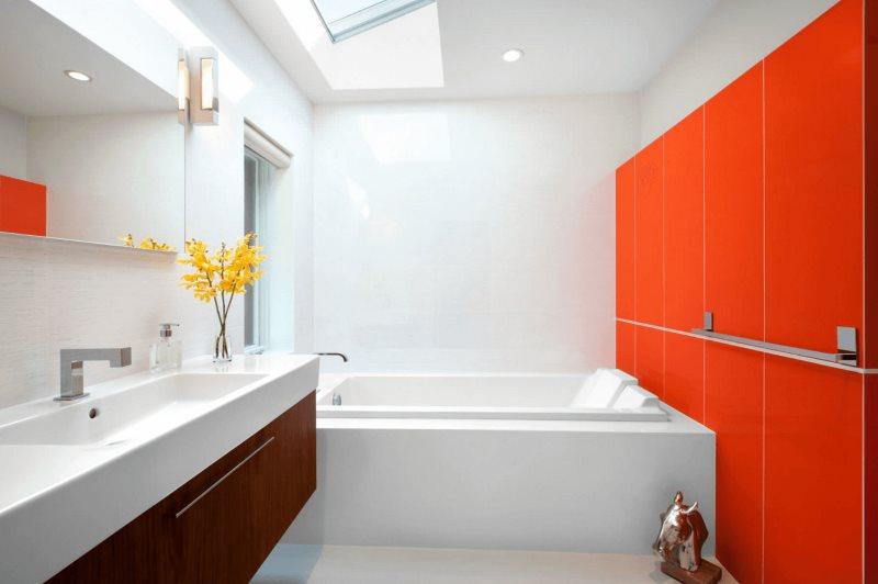 Интерьер современной ванной в красно-белом цвете