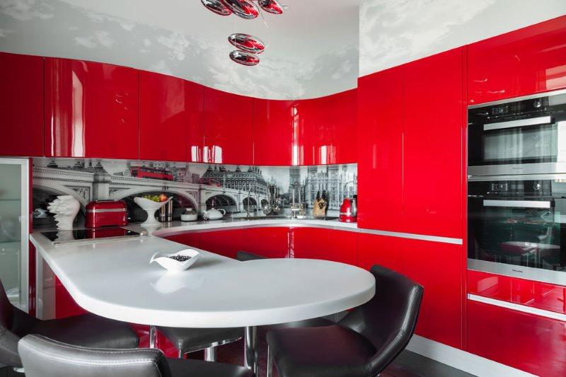 Современные гарнитур с фасадами красного цвета