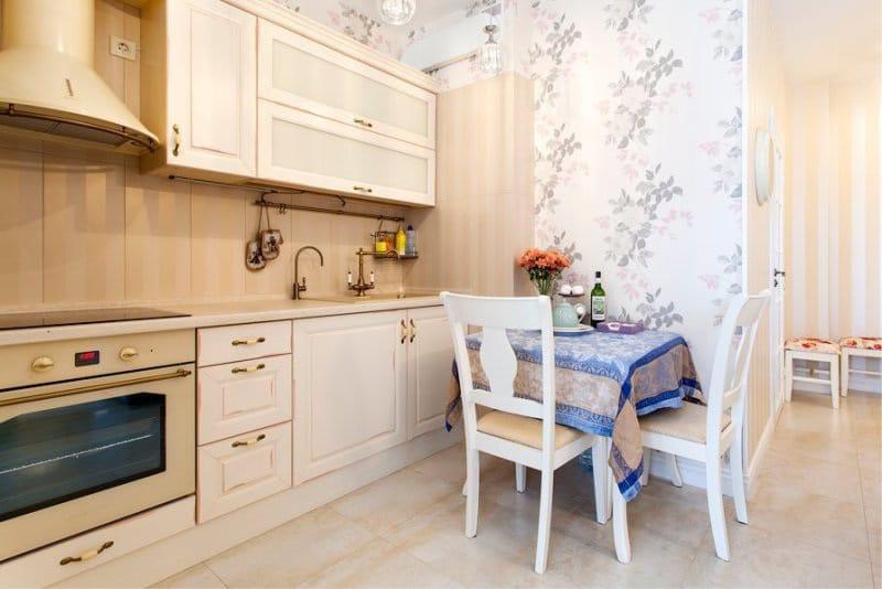 Кухонный гарнитур прямой планировки в ретро стиле