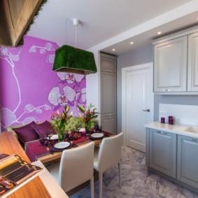 Акценты фиолетового цвета в дизайне кухни