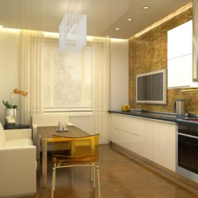 Дизайн кухни линейной планировки