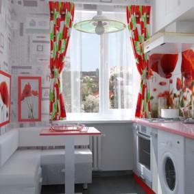 Красно-белая кухня в городской квартире