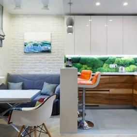 Барная стойка в роли разделителя кухни гостиной