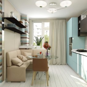 Голубой гарнитур в интерьере кухни