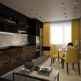 Желтые шторы в интерьере кухни-гостиной