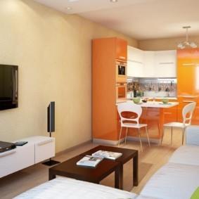 Интерьер кухни-гостиной вытянутой формы