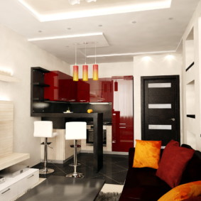 Дизайн кухни-гостиной с многоуровневым потолком