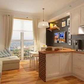 Кухня-гостиная с окном до самого пола