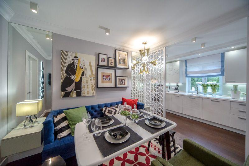 Белая кухня-гостиная площадью 18 кв метров