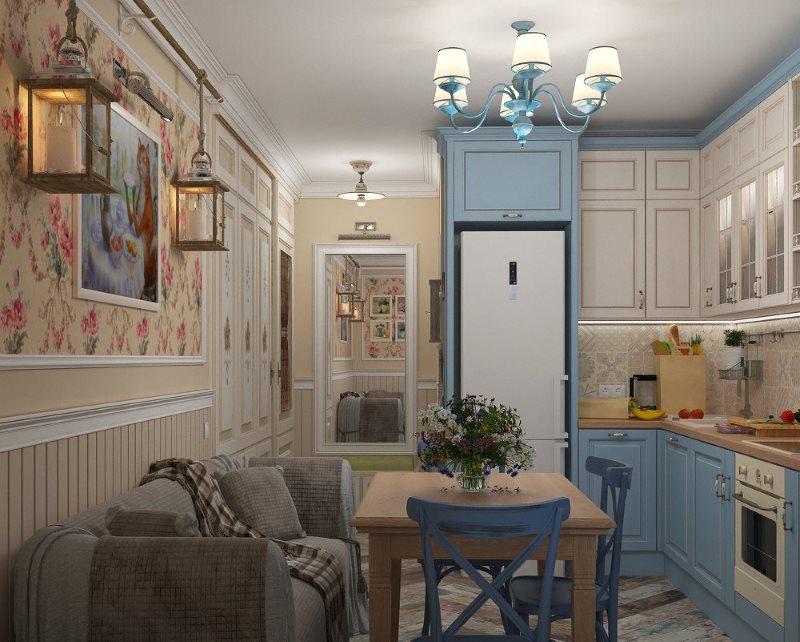 Обустройство кухни с диваном в стиле кантри