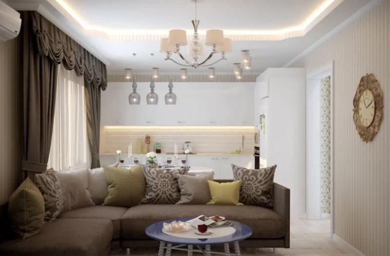 Дизайн кухне-гостиной в стиле неоклассика