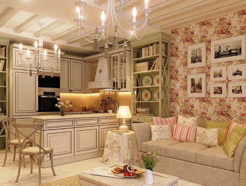 Дизайн кухни гостиной 16 квадратов в стиле прованс