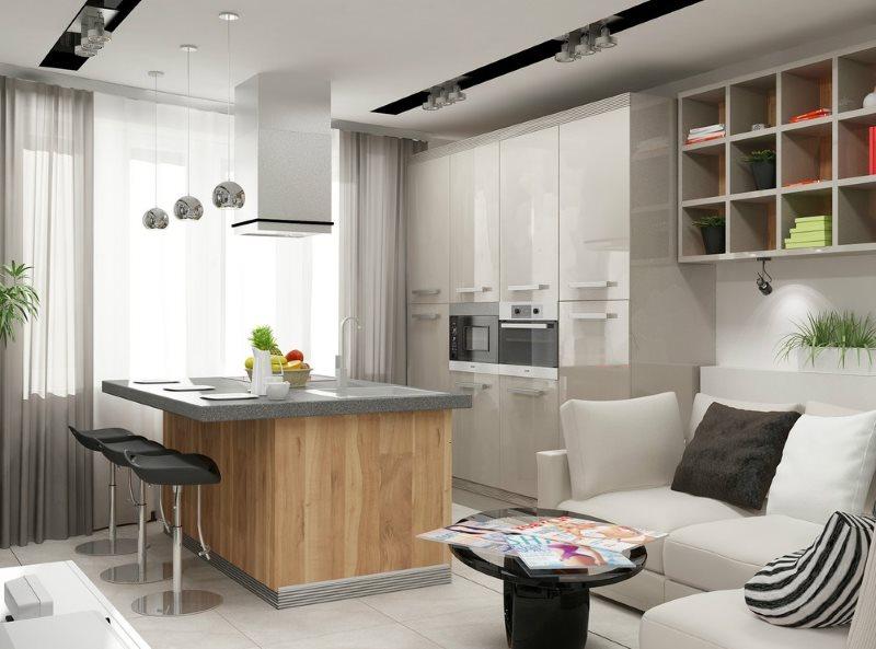 Дизайн кухни гостиной с функциональным островом