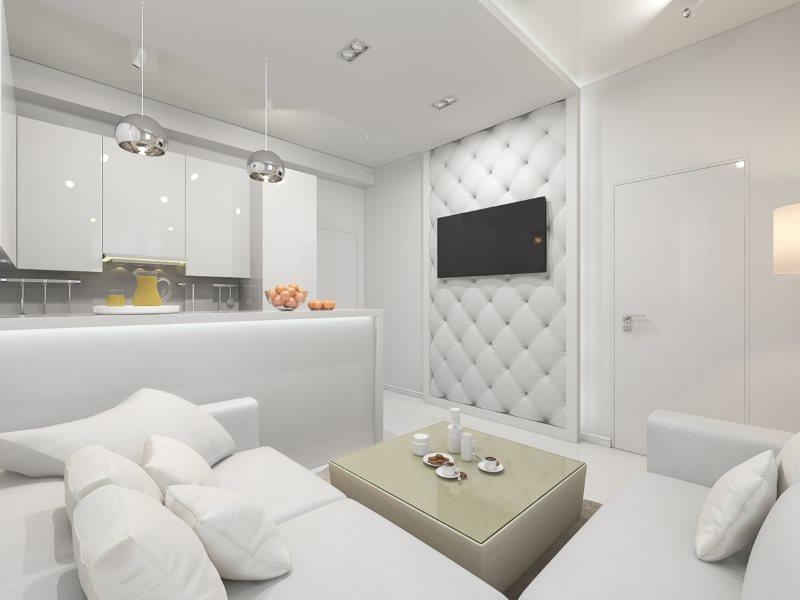 Белый диван в кухне-гостиной стиля минимализма