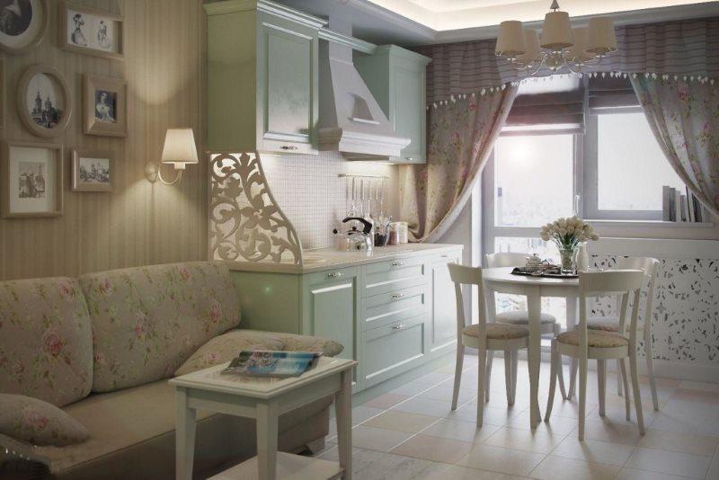 Обеденная зона кухни-гостиной в стиле прованс