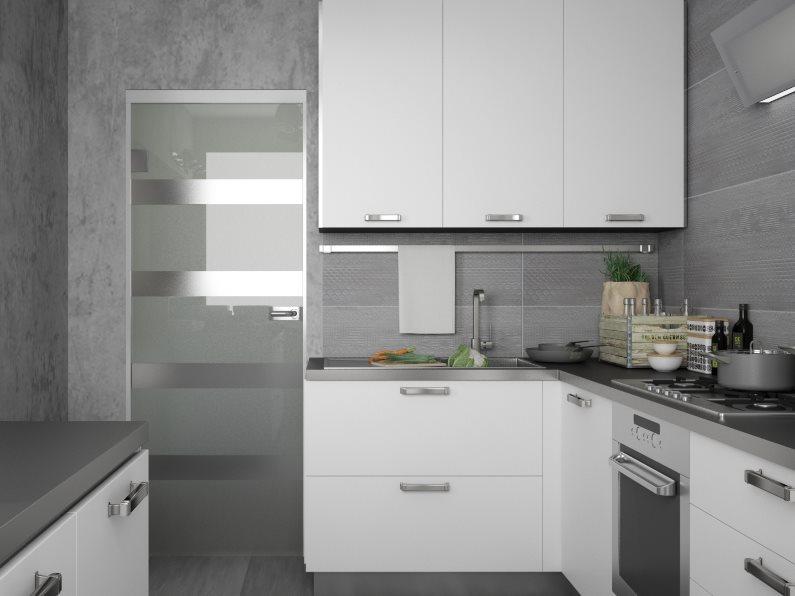 Серые стены маленькой кухни в стиле хай тек