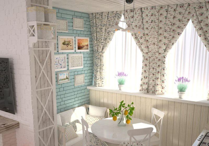 Уютная обеденная зона кухни с красивыми занавесками