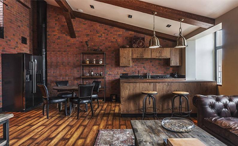 Деревянная мебель в кухне-гостиной стиля лофт
