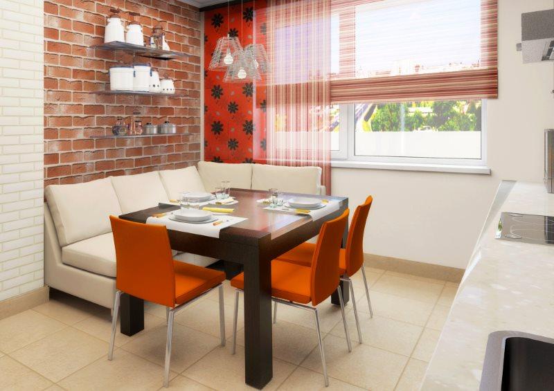 Дизайн кухни средней площади с элементами лофта