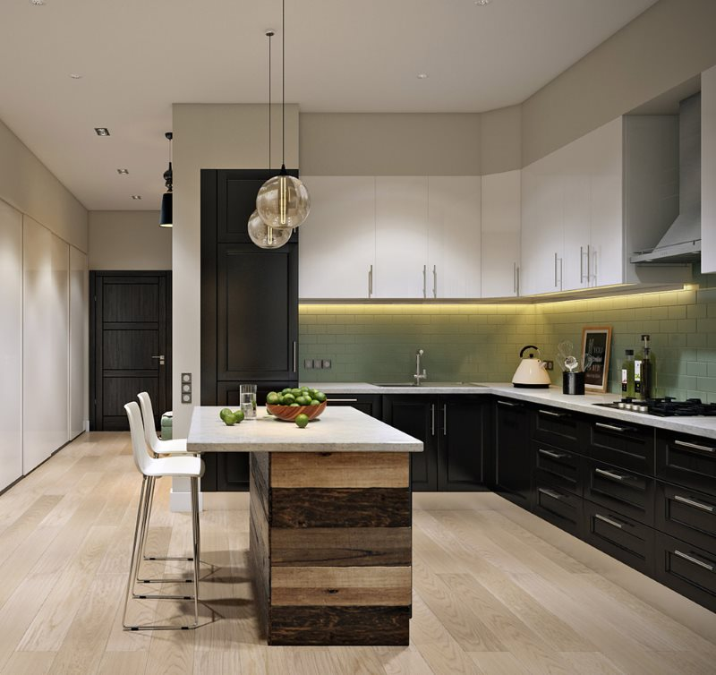 Рабочая зона кухни-гостиной угловой планировки