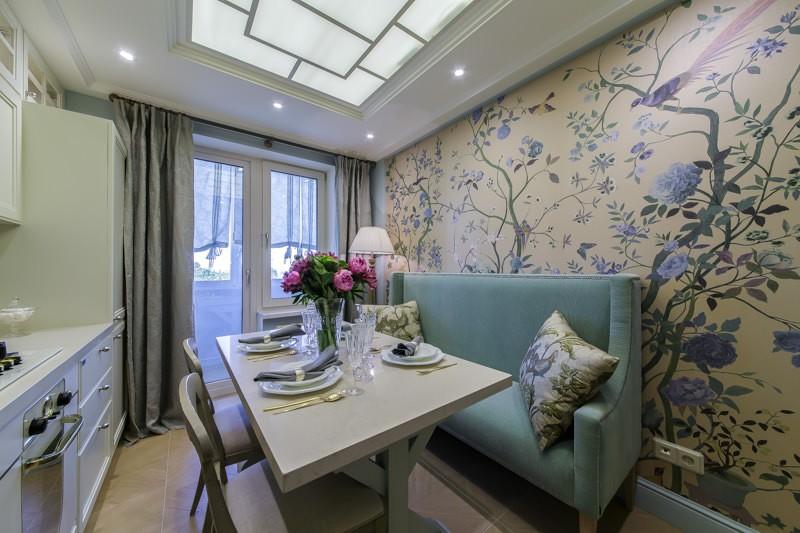 Дизайн кухни 9 кв м с узким диваном