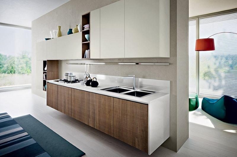 Линейная кухня в эко-стиле с шоколадным фасадом