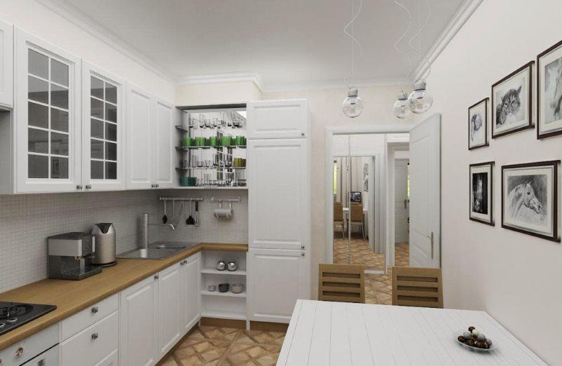 Белая мебель в небольшой кухне скандинавского стиля