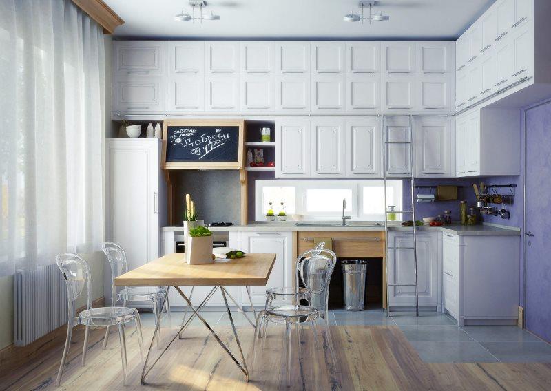 Угловая кухня в стиле эклектика с высокими шкафами