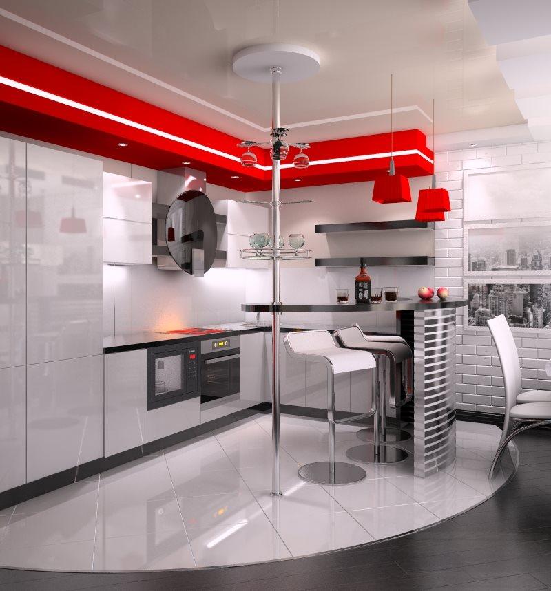 Акценты красного цвета в белой кухне-гостиной