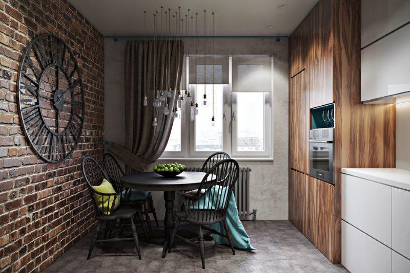 Кирпичная стена в кухне с линейным гарнитуром