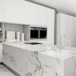 Мраморные поверхности кухонного полуострова