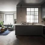 Угловой гарнитур в кухне-гостиной загородного дома
