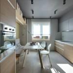 Двухрядная кухня в прямоугольном помещении