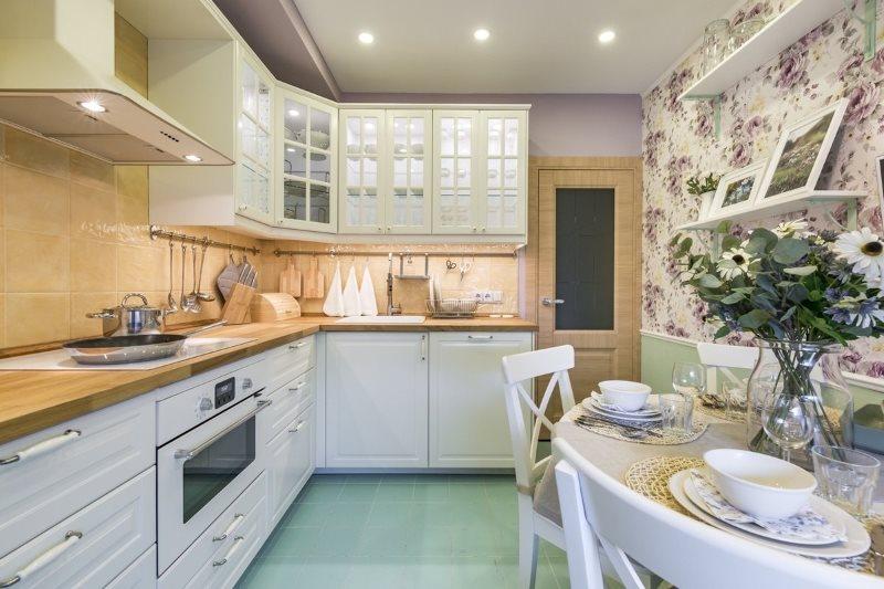 Угловая кухня в стиле прованс площадью в 9 квадратов