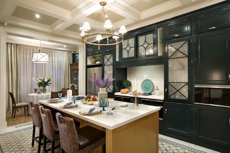 Черный гарнитур в кухне с островом