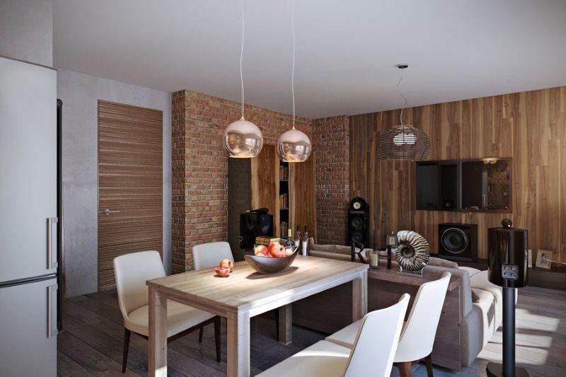 Комбинированная отделка стен в кухне-гостиной