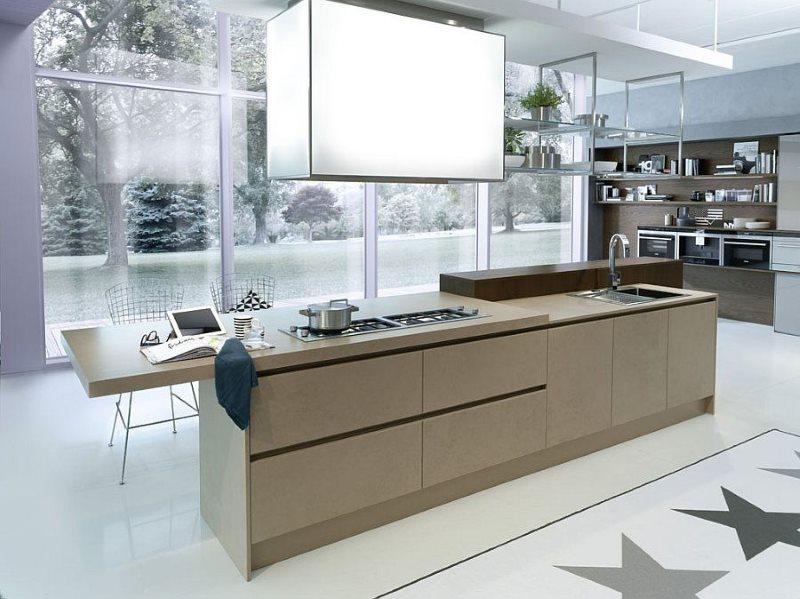 Дизайн большой кухни в стиле модерн