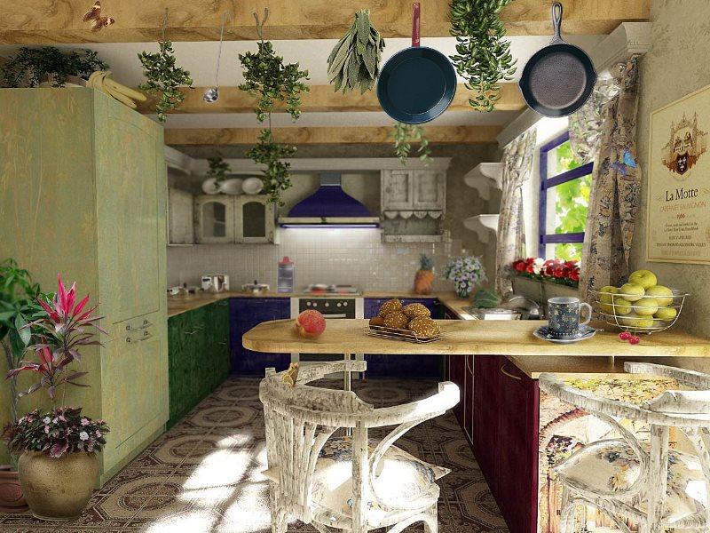 Дизайн летней кухни в деревенском стиле