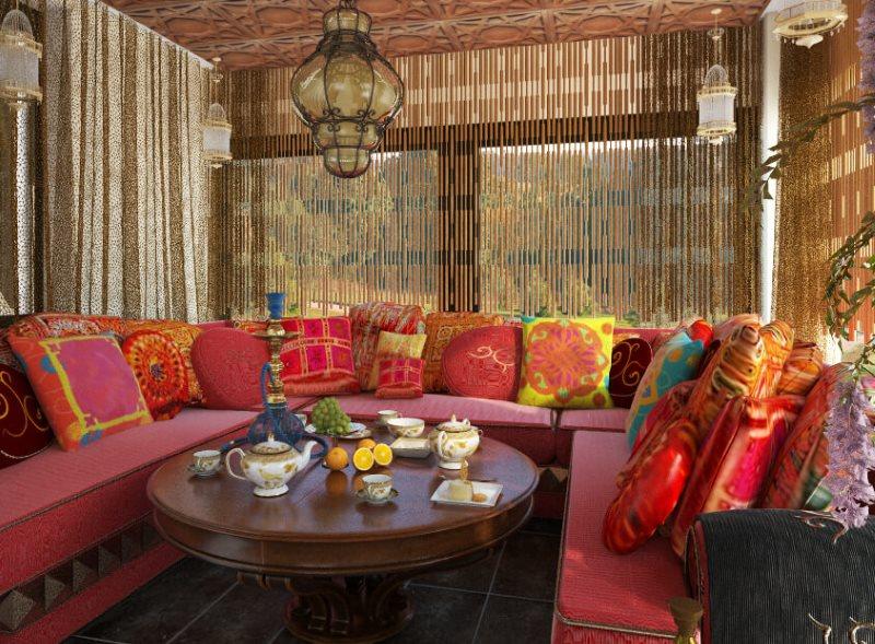 Удобные диваны в летней кухне в восточном стиле