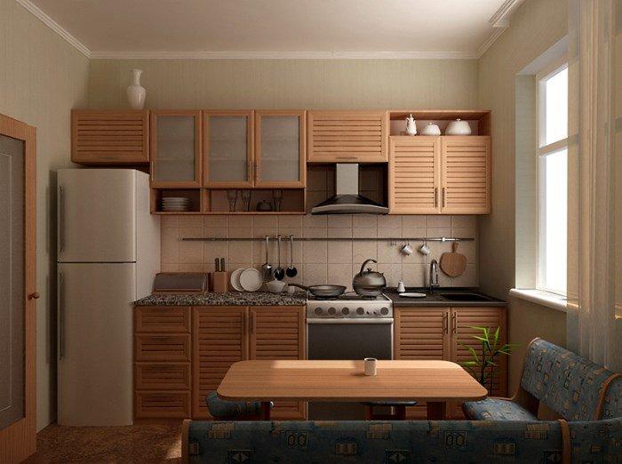 Интерьер кухни 9 кв м с линейным гарнитуром