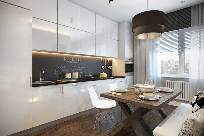 Кухня-гостиная с гарнитуром линейного типа