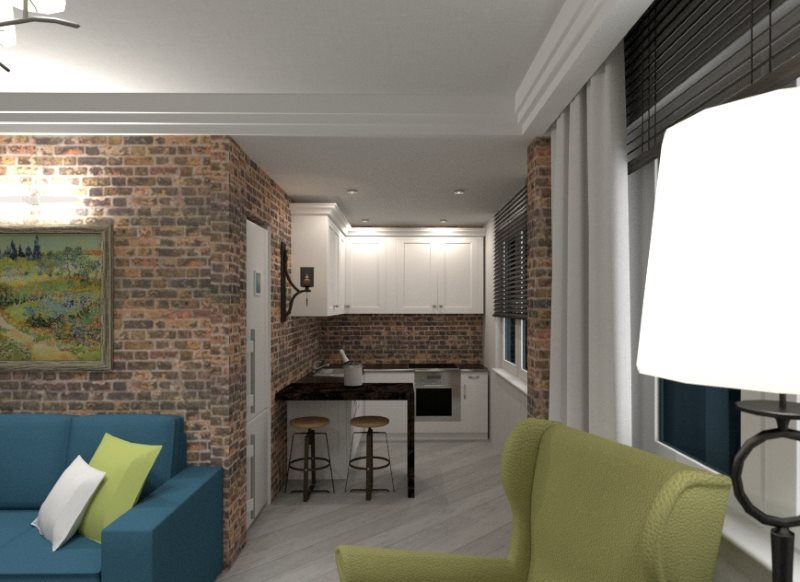 Дизайн кухни-гостиной в индустриальном стиле