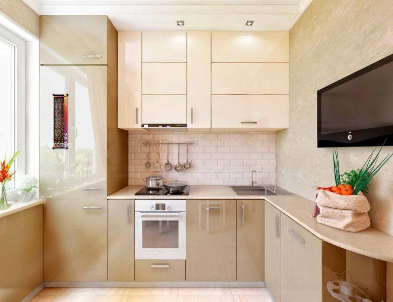 Компактная угловая кухня в бежевых тонах