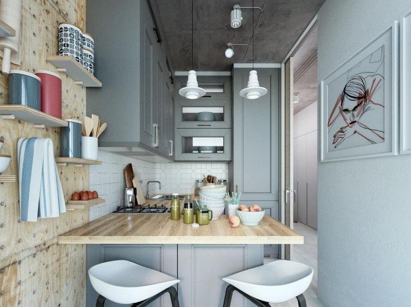 Интерьер маленькой кухни в сером цвете